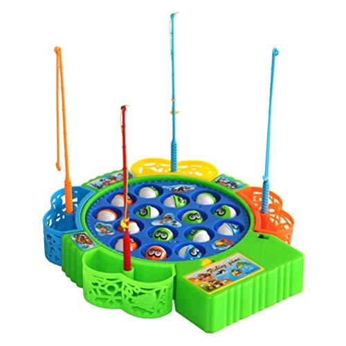TOYANDONA Elektrische Angelspiel Set Angeln Brettspiel mit Angelruten und 15 Stücke Fische Musikspiel Geschicklichkeitsspiel für Kinder Angeln Spielzeug (Zufällige Farbe, ohne Batterie)