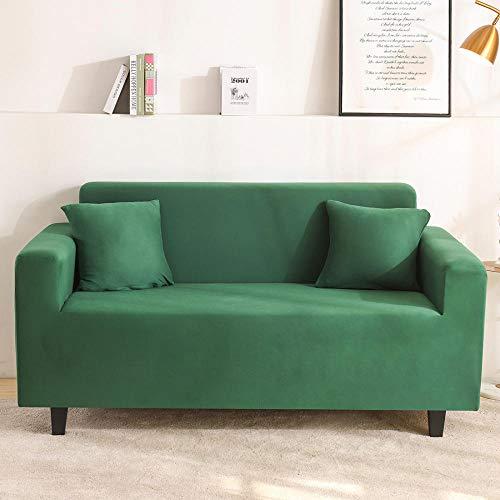 B/H 3 Plaza Funda de Sofá Elástico Cubierta,Funda de sofá de Color Liso, Funda de sofá Universal Antideslizante-Verde Oscuro_145-185cm,Funda sofá Duplex