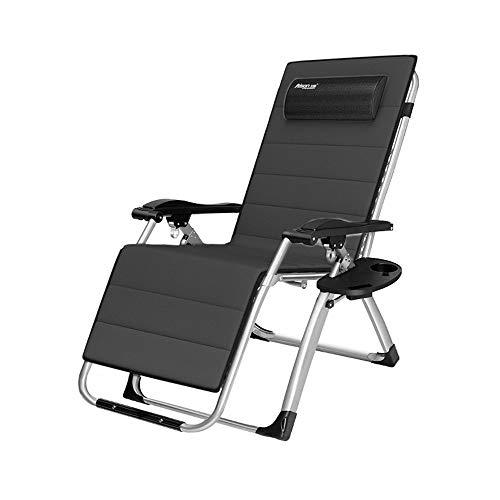 Zero Gravity Recliner Klappbarer Lounge-Stuhl Liegender Terrassenstuhl 250 kg im Freien mit Getränkehalter und Stahlrohr mit 40 mm Durchmesser, schwarz