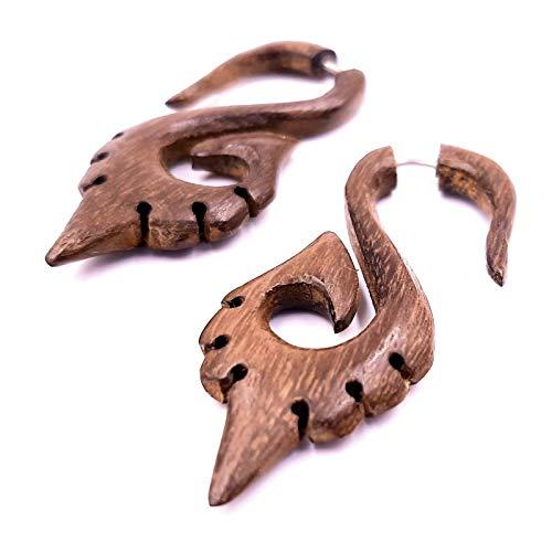 Falso dilatador de madera, pendientes étnicos, para expander Wood Wooden Fake en espiral
