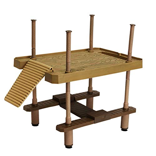 Holzsammlung Schildkröte Sonnenbad Plattform, Schwimmende Plattform für Reptilien mit Leiter, Aquarium Terrarium Ornament mit Saugnapf, Tankzubehör für Kleine Haustiere Sonnenbaden Ruhe Spielen, L
