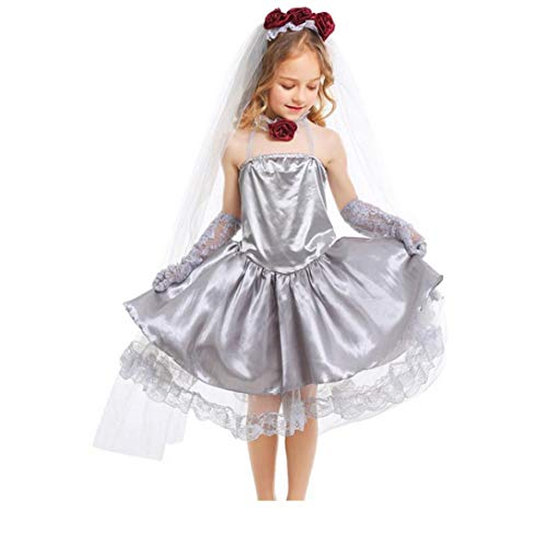 Dress Little Girls Halter Lace partito Abito senza maniche tulle Prom per Halloween Party Cosplay XL 1Set