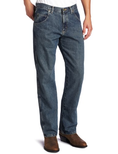 Wrangler mens Rugged Wear Relaxed Straight Fit jeans, Mediterranean, 38W x 30L US