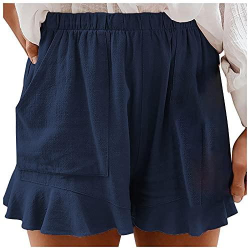 YANFANGPantalones Cortos Casuales para Mujer,Shorts De Alta Elasticidad Color SóLido Verano Mujer con Bolsillo,Naranja,Verde Oiscuro,Azul Oscuro,S,M,L,XL,XXL