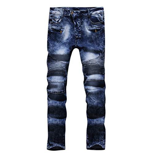 SoonerQuicker heren jeans geribbeld straight rits zakken elastische losse broek met gaten vintage slim fit broek vrije tijd stretch regular cerissen gaten joggingbroek