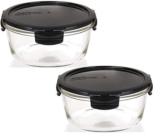 LOCK & LOCK Boroseal Frischhaltedosen aus Glas - 2er Vorratsdosenset - rund - mit Deckel für Backofen, Mikrowelle & zum Einfrieren - 950 ml