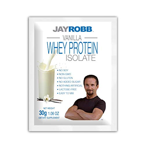 Jay Robb Whey Vanilla Isolate Protein Powder, Low Carb, Keto, Vegetarian, Gluten Free, Lactose Free, No Sugar Added, No Fat, No Soy, Nothing Artificial, Non-GMO, Best-Tasting (Individual Packet,)