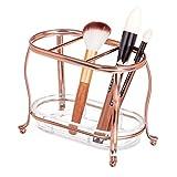 mDesign Elegante organizer cosmetici da tavolo o ripiano – Capiente porta trucchi, ideale per riporre pennelli trucco – trasparente/oro rosa