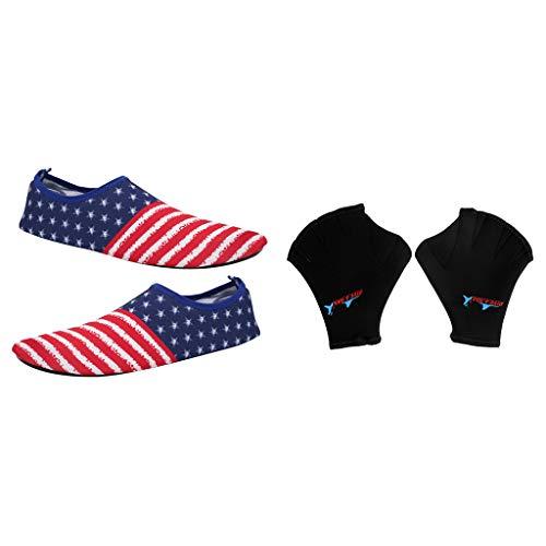 P Prettyia 1 Par de Zapatillas de Playa Ligeras y Finas Diseño de Rayas y Estrellas + Guantes de Natación de Neopreno Esnórquel Surf Buceo Deportes Acuáticos