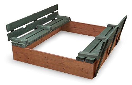 Badger Basket Covered Convertible Cedar Sandbox with Two Bench Seats Cedar Sandbox, Natural/Green, 46.5 x 46.5 x 9.5 (99870)