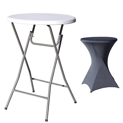 TRUTZHOLM® Stehtisch mit Husse anthrazit klappbar Ø 80cm / Höhe ca.110 cm Partytisch mit Husse Bistrotisch Klapptisch Biertisch grau
