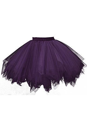 emondora Retro Short Tutu Skirt Petticoat Adult Fluffy Party Multi-Colored Ballet Costume Dark Purple Size XXL-XXXL