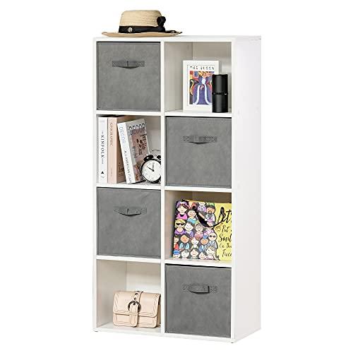 HOMCOM Estantería para Libros de 8 Cubos Librería Modular con 4 Cajones Extraíbles de Tela no Tejida para Oficina Estudio Dormitorio 61,5x30x121,6 cm Blanco y Gris