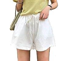 部屋着ハーフパンツ 綿麻ショーパンツレディース 短パン女性 無地イージーパンツ ゆったり ルームウェアズボン カジュアル ボトム 軽量 高伸縮性 吸汗 ウエストはゴム仕様