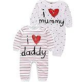 Newday Heaven Baby 2erPack Schlafstrampler mit Streifen- & Sterne -Print Schlafoverall - Strampler aus Reiner Baumwolle Schlafanzug mit Füßen/Unisex