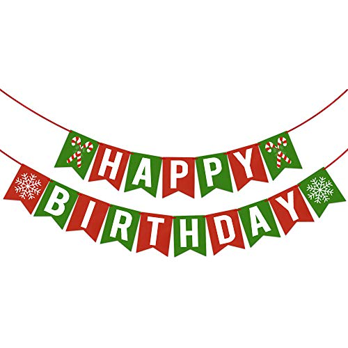 Happy Birthday Banner Christmas for Winter Holiday Seasonal Themed Birthday Party Decorations Supplies - Holiday Birthday Party Decorations Supplies