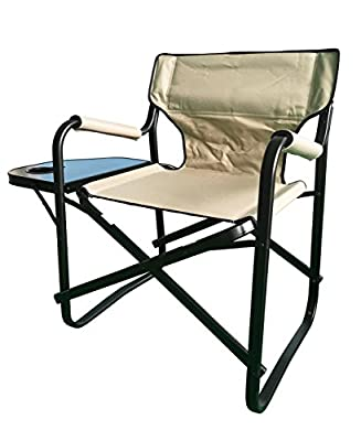 Onway Outdoor Furniture Aluminum Portable Folding Director Chair with Side Table (Khaki) - Camping Chair, Deck Chair, Garden Chair, Tailgating, Event