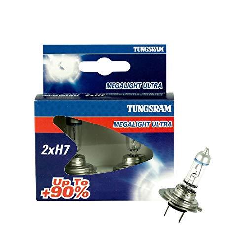 Tungsram H7 MEGALIGHT Ultra +90 Halogen Lampe 12 V hohe Helligkeit für Projektor - Set mit 2