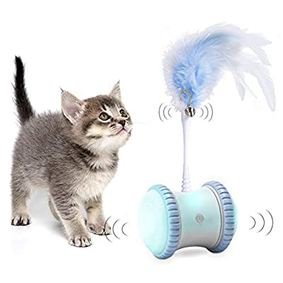 Automatic Interactive Cat Toy for Indoor, Automatic Irregular Moving LED Light Toys for Kitten/Cats, Upgraded USB Charging, Large Capacity Battery, All Floors/Carpet Available (Blue)