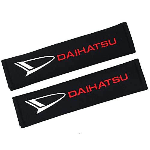 ONETOOSE 2 Fundas para CinturóN De Seguridad para Hombreras, Negras, con Logotipo Bordado, Funda Protectora para CinturóN De Seguridad, para Daihatsu Logo