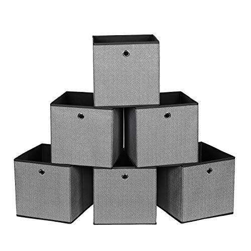 SONGMICS Set di 6 Scatole Portaoggetti, Contenitori Pieghevoli per Giocattoli, Cesti Organizzatori, 30 x 30 x 30 cm, in Tessuto Simil Lino, Nero RFB002B01