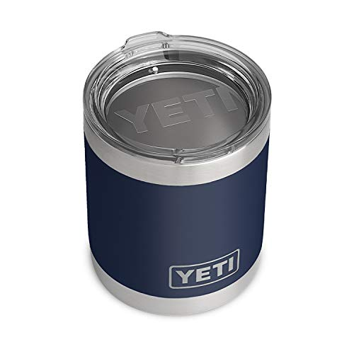 YETI Rambler 10 oz Lowball, Vacuum Insulated, Stainless Steel with Standard Lid, Navy