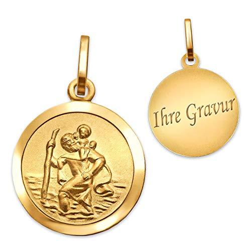 CLEVER SCHMUCK-GRAVUR Golderner Anhänger kleiner Christopherus Ø 13 mm innen matt Rand glänzend 333 GOLD 8 KARAT mit Gravur und Etui