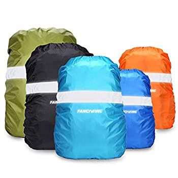 FANCYWING Waterproof Backpack Rain Cover with Reflective Strap Upgraded 10-90L Non-Slip Rainproof Backpack Cover for Hiking Camping Hunting Rain Cycling Orange S