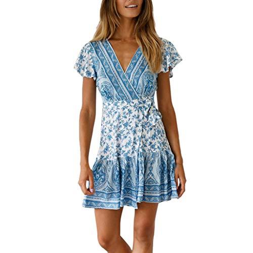 Corriee 2019 Gift Idea Womens Boho Dress Summer Short Sleeve Floral Print V Neckline Mini Dress Sundress Sky Blue