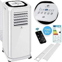 KESSER® - Climatisation Climatiseur mobile 4in1, déshumidificateur, aérage, ventilateur - 7000 BTU/h (2.000 watts) - Climat avec matériel de montage, télécommande et 24h minuteur, mode nuit EEK: A Blanc