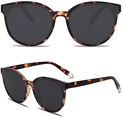 SOJOS gafas de sol redondas de moda para mujeres hombres de gran tamaño vintage sombras SJ2057, marr�n, tamaño más grande