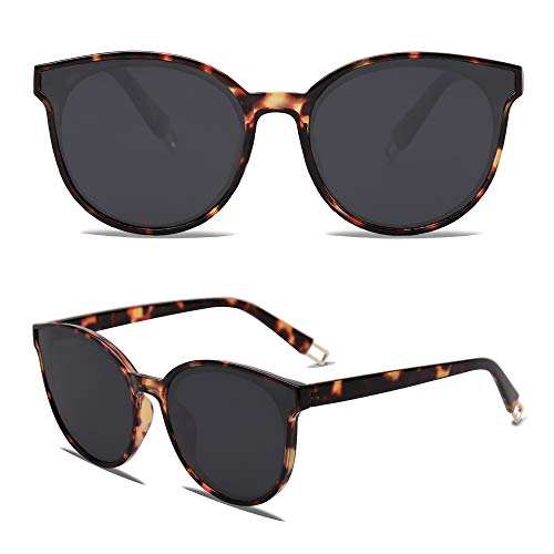 SOJOS Fashion Round Sunglasses for Women Men Oversized Vintage Shades SJ2057 with Tortoise Frame/Grey Lens