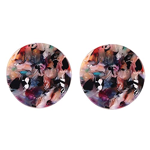 Flauli 1 par de pendientes de aro con forma redonda exagerada, multicolor, delicados, brillantes, para mujer, para mujer y niña, multicolor