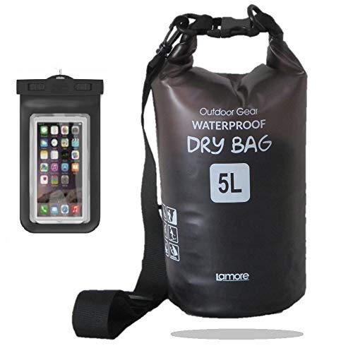 半透明 防水バッグ ドライバッグ 軽量素材 5L 10L 20L [スマホ 用 防水ケース セット] プールバッグ ビーチバッグ ドラム型 アウトドア プール dry bag 笑顔一番 [A323] 20L, 1) ブラック