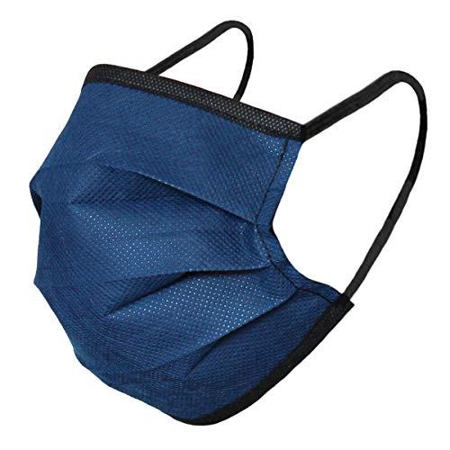 Karabar 3 x Abwaschbare Gesichtsmasken - HERGESTELLT IN EU - Wiederverwendbare Ohrschlaufenabdeckung Nicht Medizinischer Schutz Mundabdeckungsmaske Lieferung in Versiegeltem Beutel, Dunkelblau