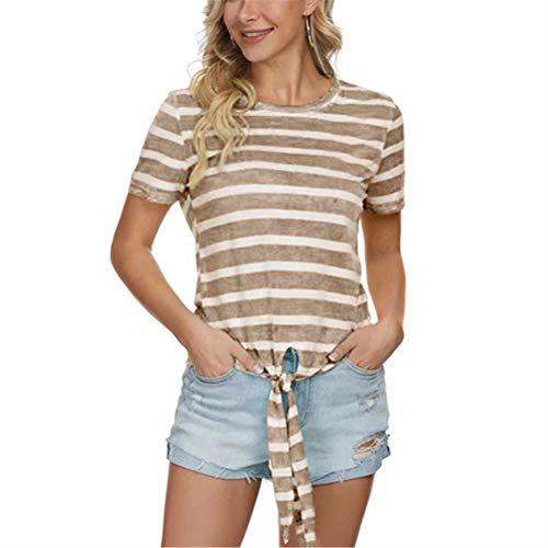 ZFQQ Sommer lockeres Damen Kurzarm T-Shirt mit rundem Halsausschnitt und rundem Streifen