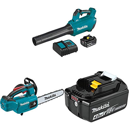 Makita XBU03SM1 18-Volt LXT Brushless Cordless Blower Kit, 4.0Ah with XCU06Z 18-Volt LXT Brushless Cordless 10 in. Top Handle Chain Saw and BL1840B 18-Volt 4.0Ah LXT Lithium-Ion Battery