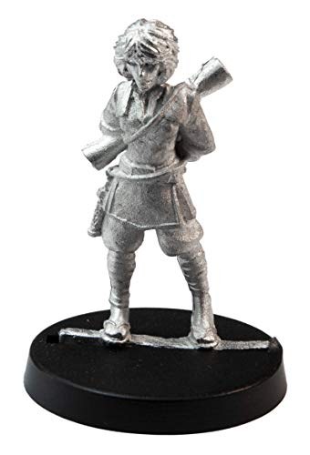 Stonehaven Miniatures Female Human Monk Miniature Figure, 35mm - 100% Pewter Metal - Includes Slotted Creator Base - for 28mm Scale Table Top War Games - Designed & Made in USA