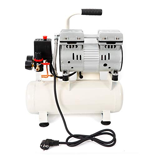 Compresor de aire 680 W, sin aceite, sin aceite, mantenimiento sin aceite, 57 db, silencioso, 9 L, compresor de aire para pintura de coche, tratamiento de madera, decoración, científico