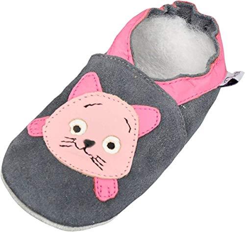 Lappade Kitty grau-rosa Wildleder Mädchen Lederpuschen Hausschuhe Krabbelschuhe Baby Lauflernschuhe mit Ledersohle (Gr. 17/18 EU S, Art. 102)