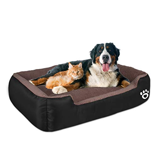 [Latest 2020] Warming Pet Dog Beds for Large Dog(Up to 55 lbs),Rectangle Pet Bed Thickened Enough with Soft Coral Fleece and Non-Slip Bottom,Dog Sofa Couch Pet Bed with Durable Oxford Cloth Beds