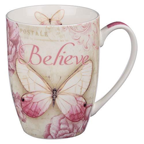 "Botanic Butterfly Blessings Pink ""Believe"" Mug - Mark 9:23"