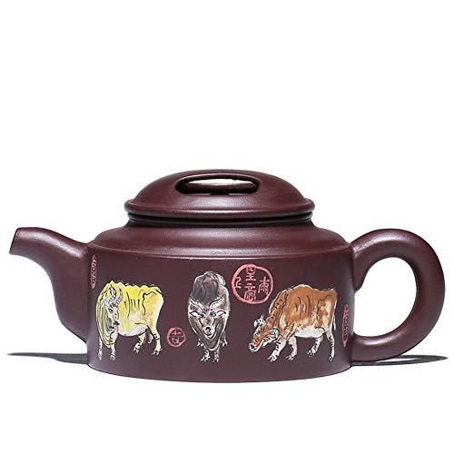 LEIJUNXU Pintada a Mano Tetera, púrpura Arena Pot, Vacas pentada, Vaca Cubierta, Juego de té Charming China Zisha (Color : Purple mud)