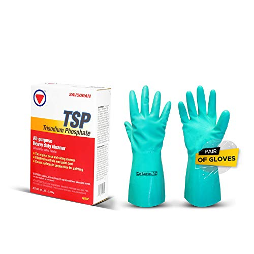 Trisodium Phosphate TSP 4.5 Pounds with Centaurus AZ Resistant Glove for Commercial and Industrial, Powerful Degreaser, Grease, Grime, Smoke, Soot, Clearing Oil Stains, for Concrete, Brick and Walls