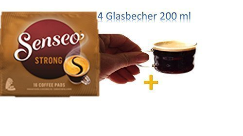 Senseo Kaffeepads Kräftig / Strong, Intensiver und Vollmundiger Geschmack, Kaffee, neues Design, 16 Pads+ 4 Glastassen mit Henkel 200ml