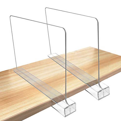 Newbested 2 Pack Acrylic Shelf Dividers,Multifunction Clear Closets Shelf Separator Organizer for Wood Closets,Kitchen Cabinets,Bookcases,Home and Office