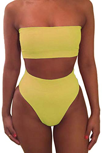 Pink Queen Women's Removable Strap Pad High Waist Bikini Set Swimsuit Yellow S