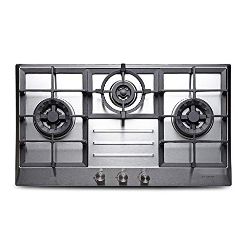 gas cooktop 30x18 Inches Built 5 Burners Stove Stainless Steel Hob With Thermocouple Protection And Easy To Clean, 3 Burners