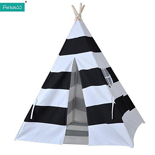 Pericross- Tente Indienne de Jouet pour Enfants avec Tapis et Fenêtre Dimensions:120 * 120 * 145cm 100%Coton (Noir-Blanc)