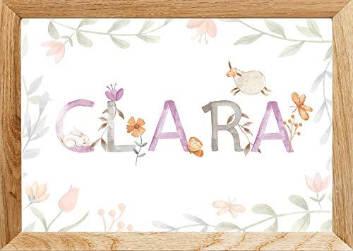 Namensbild Baby (personalisiert) Kinder | Motiv: Schaf | Größe (30x40cm) Geschenk-Geburtstag Geburt Mädchen Namensposter - ungerahmt
